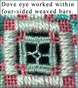 Dove eye four-sided weaved bar