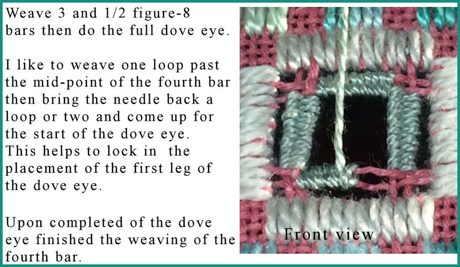 Start dove eye within weaved bars