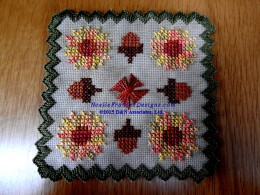 Fall Mums and Acorn doily