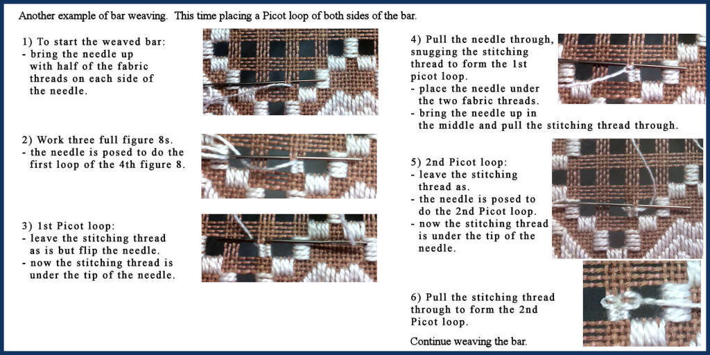 Bar weaving with 2 picot
