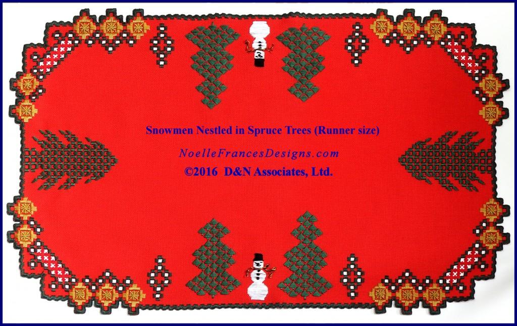 Snowmen Nestled in Spruce Trees runner