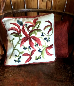 Fall leaf crewel pillow