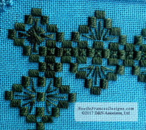 Non-openwork kloster blocks with fill-in stitches