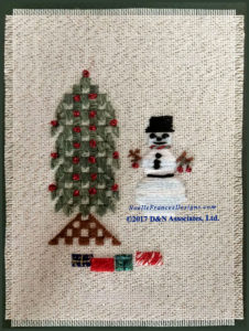 Snowman adhered to front side of a blank mat.