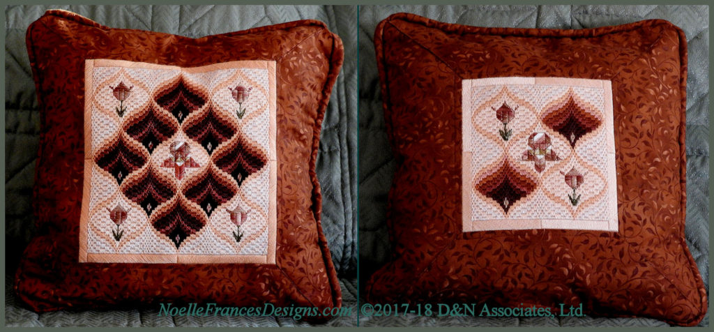 Tulips and Pomegranate Bargello finished as pillows